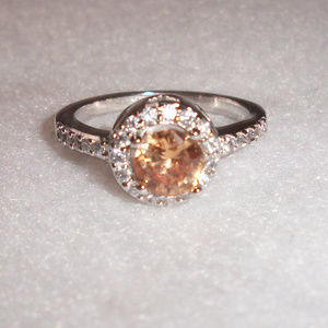 Silver Citrine Halo CZ Solitare Ring